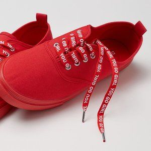 """H&M red tennis cotton sneakers """"You Go Girl"""""""